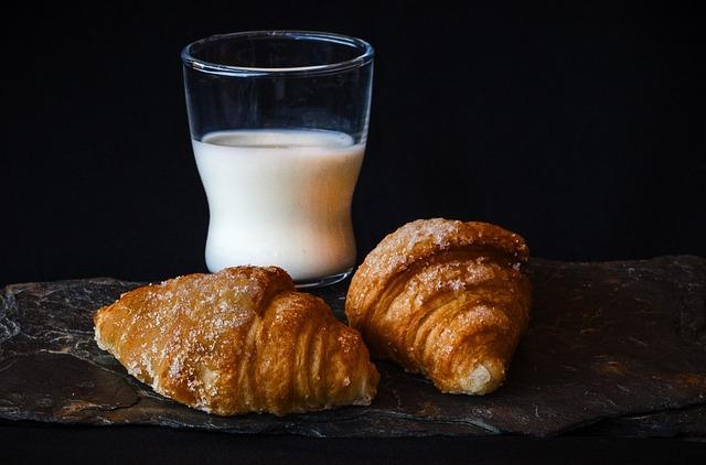 Breakfast, Milk, Croissant, Bun, Cake, Pastries