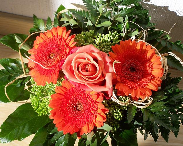 Bunch Of Flowers, Red Gerbera, Cut Flower