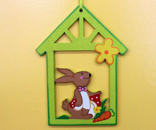 Pendant, Bunny, Easter, Easter Decorations, Wooden