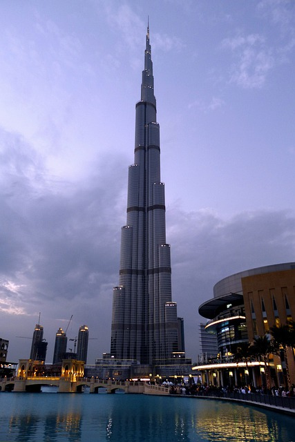 Dubai, Burj Kalifa, City, Fountain