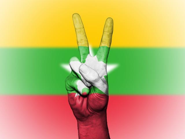 Burma, Burmese, Flag, Peace, Background, Banner, Colors