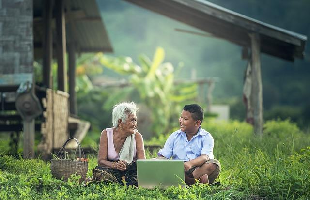 Grandmother, Kids, Laptop, Myanmar, Burma, Asia