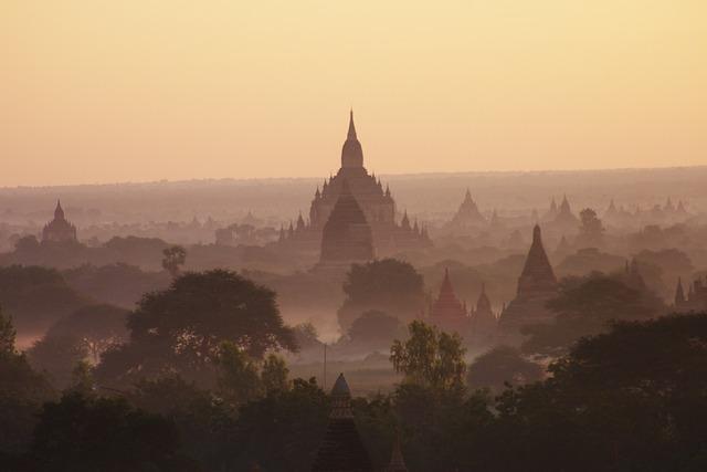 Myanmar, Burma, Temple, Bagan, Sunrise, Temple Level
