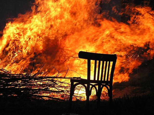 Fire, Flame, Burn, Chair, Wood Fire