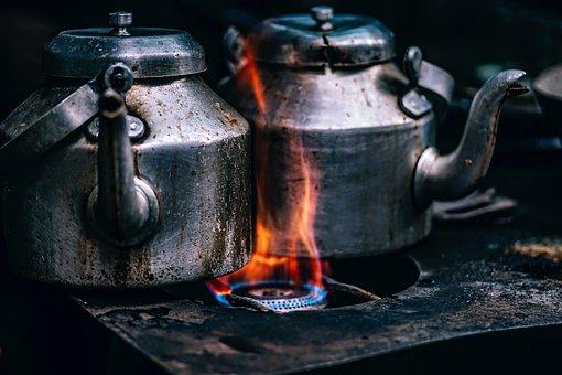 Teapots, Pots, Cook Stove, Flame, Gas Heat, Burners