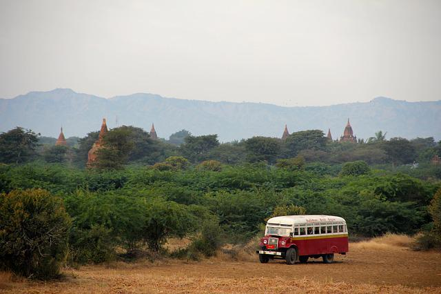 Bus, Pagoda, Myanmar, Burma, Asia, Bagan, Bricks