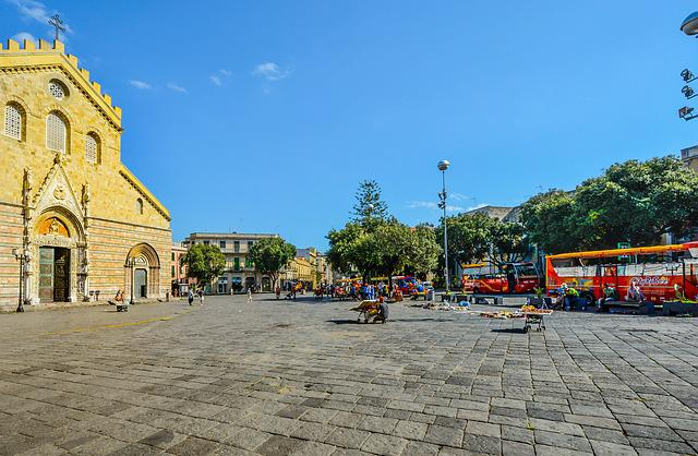 Messina, Square, Sicily, Italy, Italian, Bus, Church