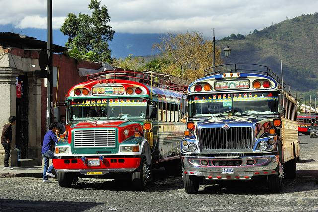 Bus, Bus Station, Car, Antigua, Guatemela