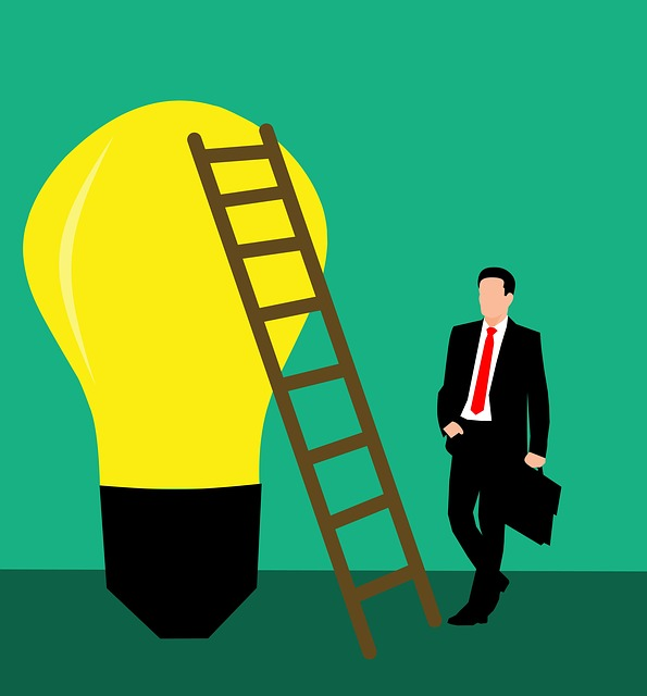 Idea, Bulb, Business, Man, Climbing, Stairs, Concept