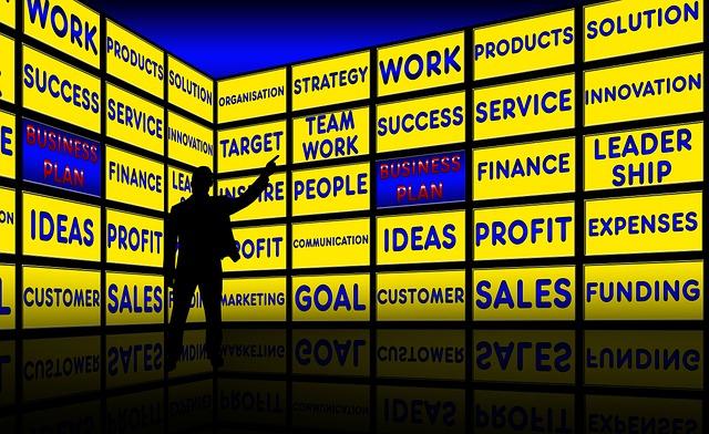 Business Plan, Monitor Wall, Presentation, Business