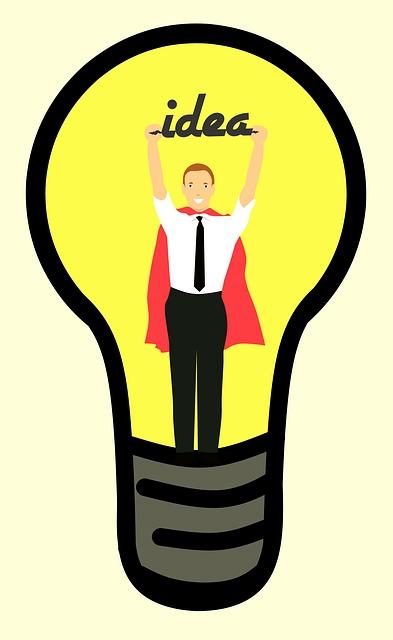 Businessman, Idea, Lightbulb, Cartoon Character
