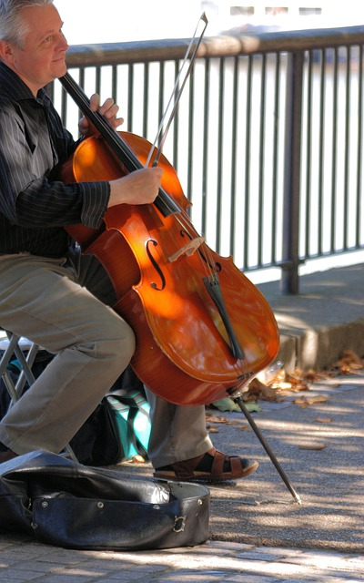 Man, Cello, Musical, String, Instrument, Busking