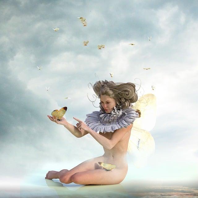 Butterflies, Woman, Wing, Sky, Fantasy, Female