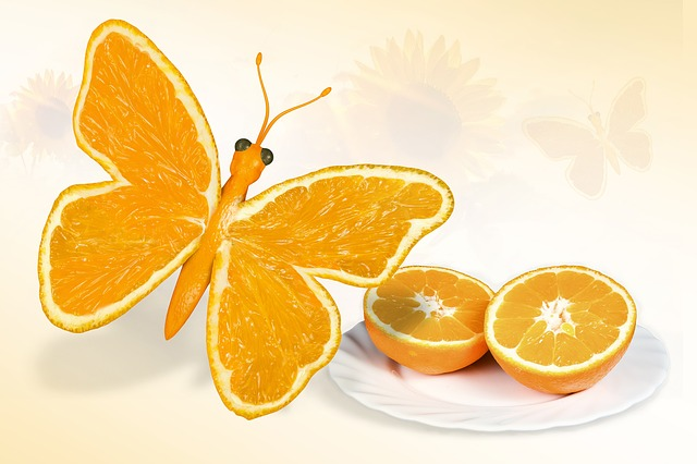 Butterfly, Yellow, Orange, Composition