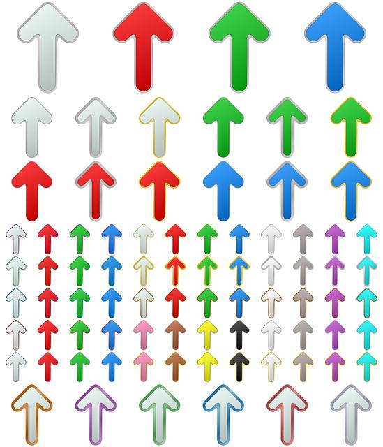 Arrow, Button, Metallic, Metal, Set, Silver, Chrome
