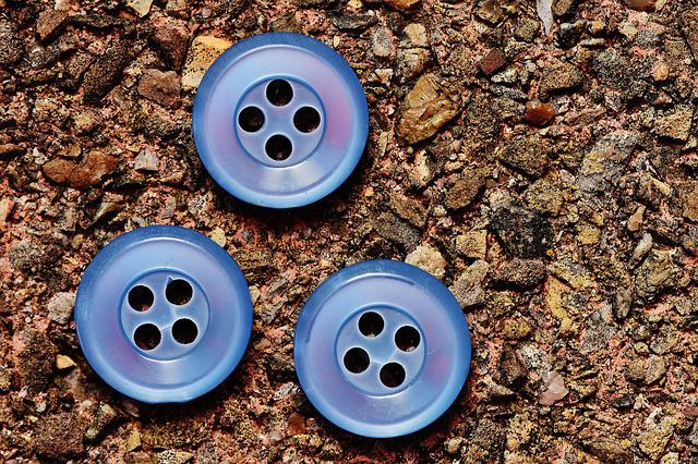 Buttons, 4 Holes, Blue, Close, Button, Color