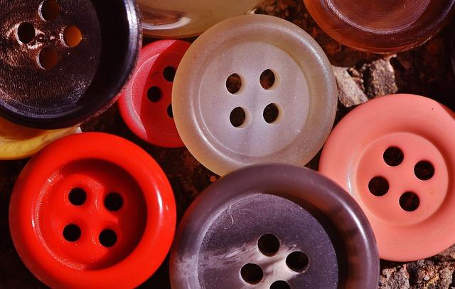 Buttons, 4 Holes, Colorful, Close, Button, Color