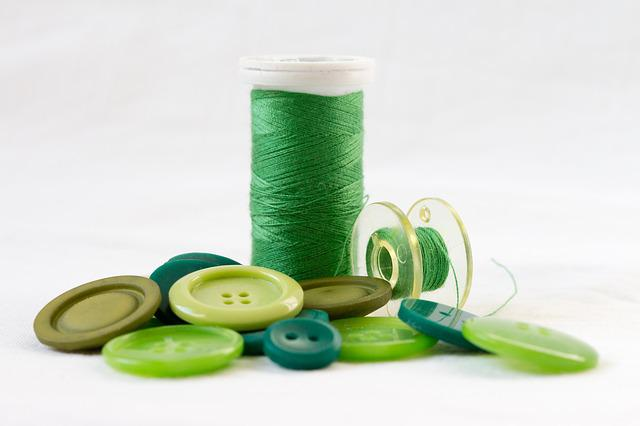 Thread, Green, Orb, Buttons, Sewing, Material, Textile
