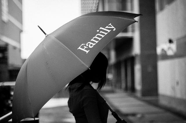 Family, Family Day, Umbrella, Black And White, Bw