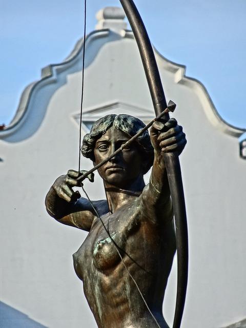 Luczniczka, Bydgoszcz, Statue, Sculpture, Figure