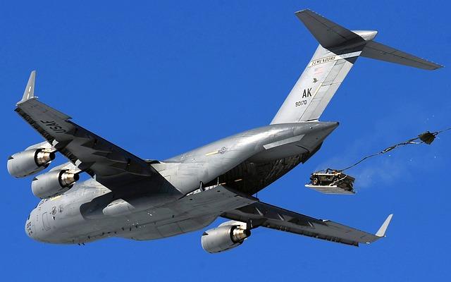 Cargo Jet, C-17, Airdrop, Humvee, Sky, Clouds, Flight