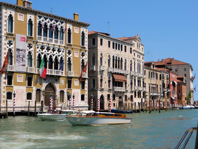 Italy, Venice, Ghent-channel, Ca-oro, Palace, Boats