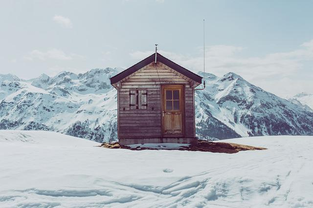 Cabin, Mountain, Snow, Winter