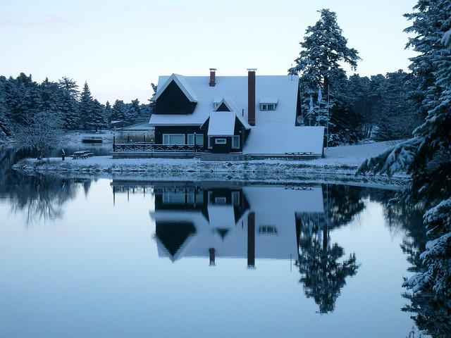Cabin, Snow, Winter, Lake, Forest, House, Snowy