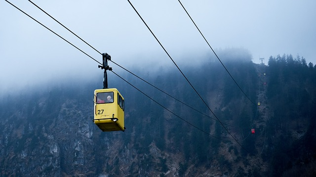 Cable Car, Foggy, Mountain, Outdoors