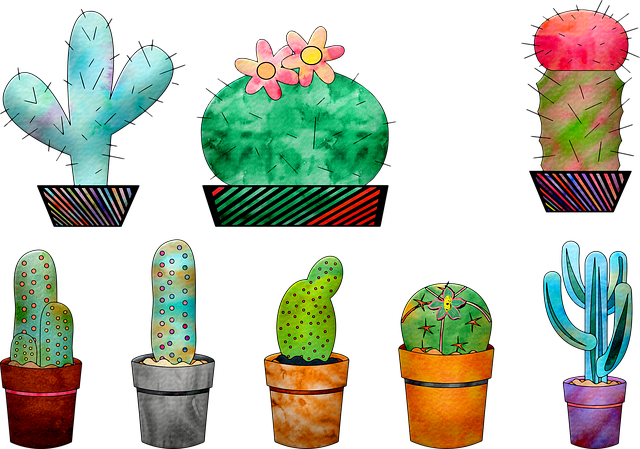 Watercolor Cactus, Cactus, Cacti, Plant, Green