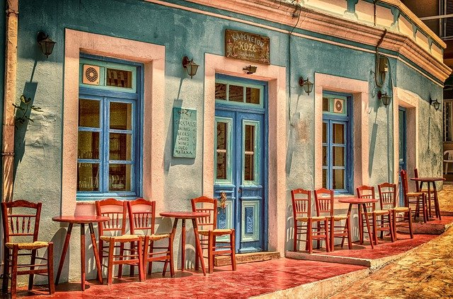 Cafe, Architecture, Building, Greece, Karpathos Island