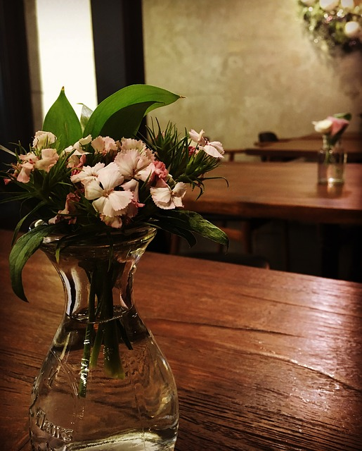 Cafe, A Small Bottle, Flower-design Table
