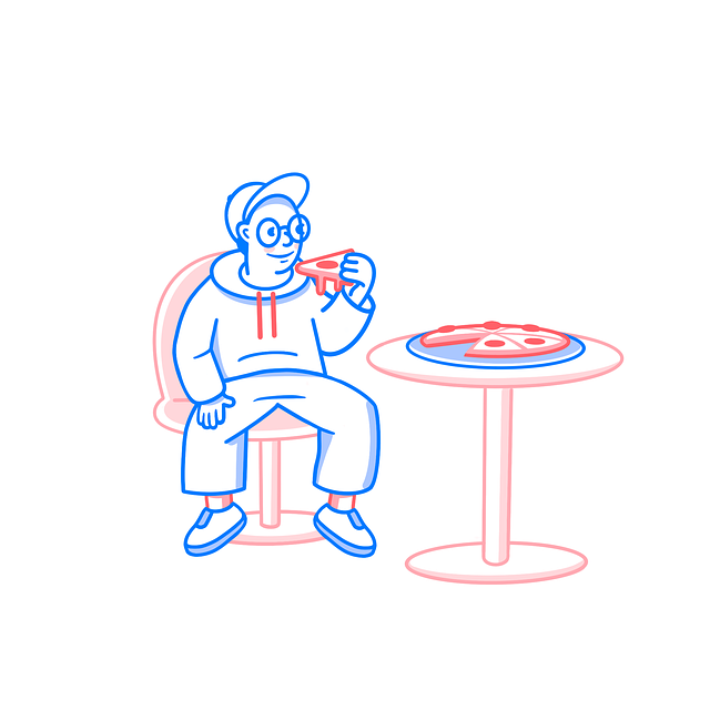 Pizza, Man, Sitting, Waiting, Pizzeria, Cafe