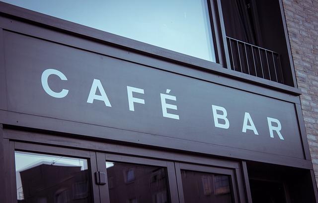 Bar, Restaurant, Shield, Lettering, Cafe