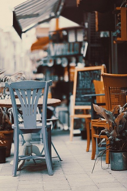 Cafe, Restaurant, Chair, Outdoors, Retro, Vintage