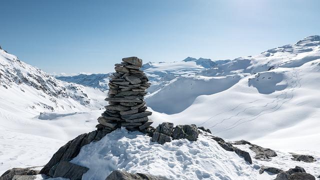 Cairn, Mountains, Winter Snow, Waymarks, Switzerland