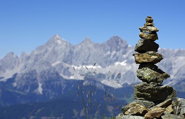 Mountains, Dachstein, Cairns, Alpine, Blue, Panorama