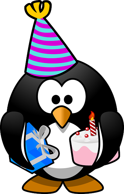 Linux, Tux, Anniversary, Bird, Birthday, Cake, Card