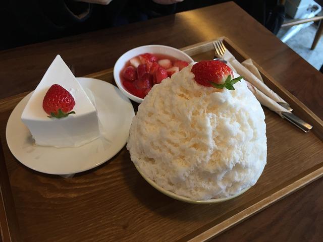Strawberry, Ice, Cake, Dessert
