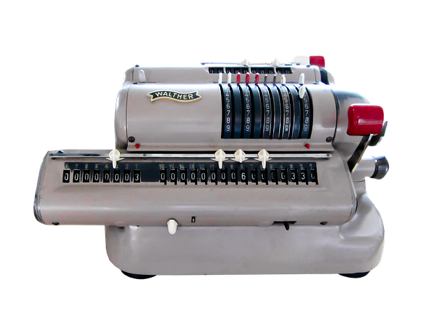 Calculating Machine, Calculator, Isolated, Old