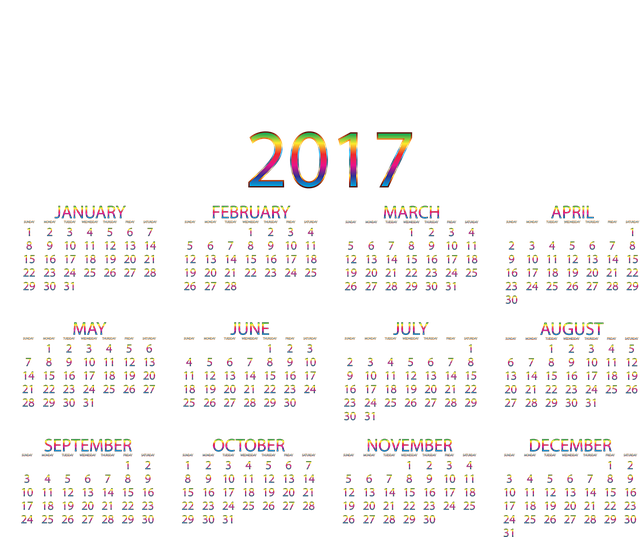 Twenty Seventeen, 2017, Calendar, Year, Date, Time