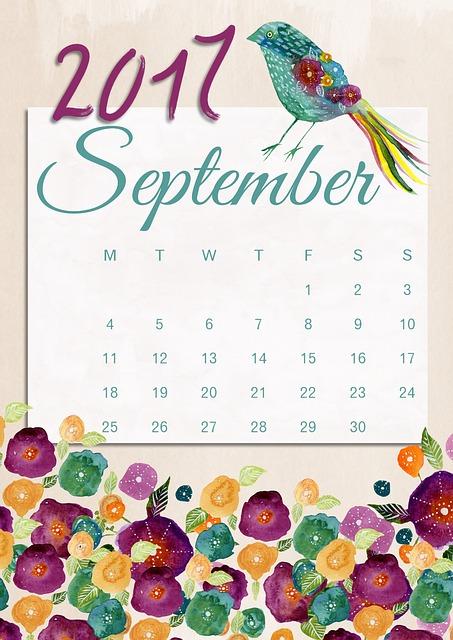 September, Calendar, 2017, Floral, Bird, Romantic