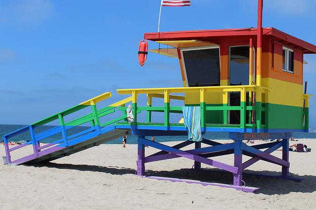 Beach, Lifeguard, Rainbow, Lgbt, California, Ocean