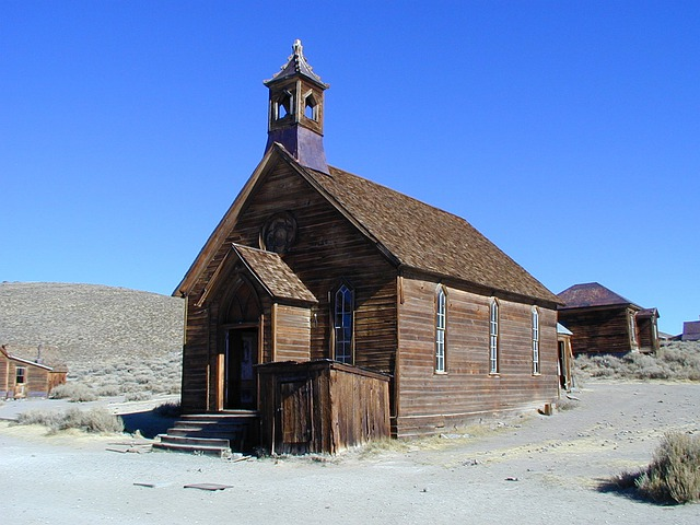 Church, Building, Bodie, California, Boomtown