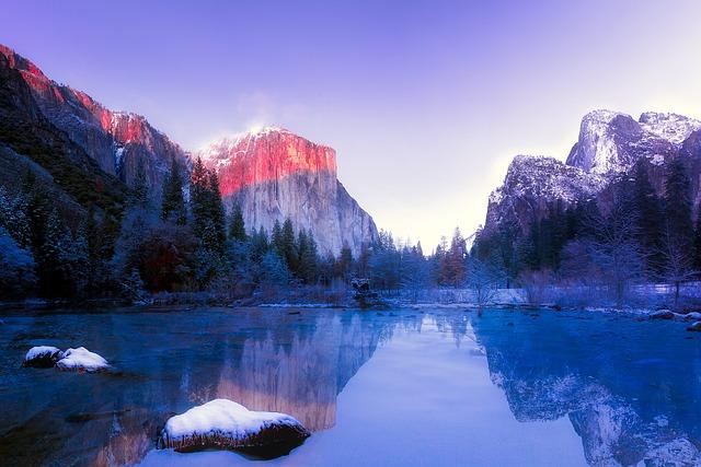 Yosemite, National Park, California, Mountains, Snow