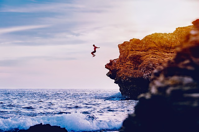 California, Sea, Ocean, Waves, Man, Cliff Diving, Rocks