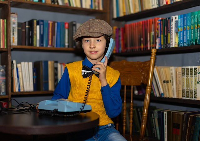 Boy, 70s, Phone, Calling, Call, Kids, Baby, Teen, Books