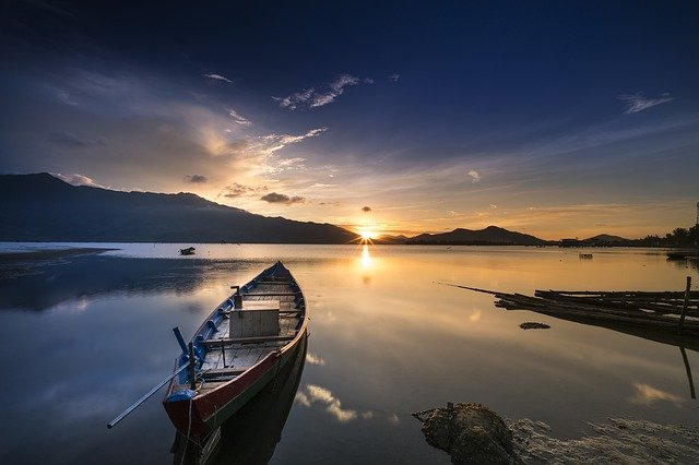 Lonely, Boat, Ocean, Coast, Shore, Sunset, Calm