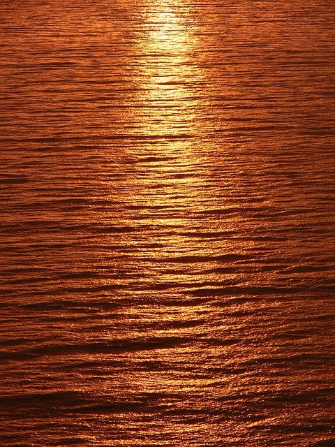 Streak, Light, Sunset, Reflected, Calm Sea, Sea
