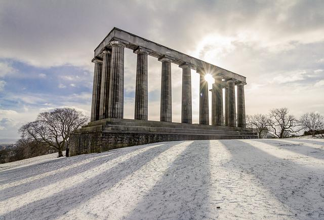 Sky, Winter, Outdoors, Calton Hill, Edinburgh, Snow